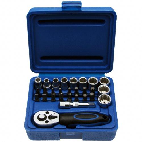 Multi-dopsleutelset MINI rateldoos moerdoos moersleutel bit/bitset 1/4 inch aandrijving - chroom-vanadium-staal - 28 dlg.