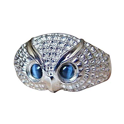 Frauenaugen-Eulenring, Edelstahl für Frauen-Eulenring 925 Sterling Silber-Eulenring Vintage Eye Owl Ring Mutter Ring Frauen Geschenk