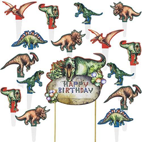 Ouceanwin 25 Stück Dinosaurier Tortendeko Dino Cupcake Toppers, Picks Geburstagstorte Deko Happy Birthday Girlande für Kinder Geburtstag Kuchen Cake Torten Muffin Decoration