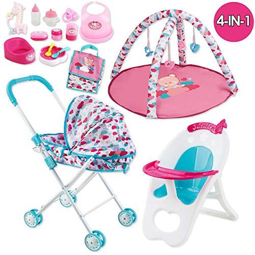 deAO Conjunto 4en1 para Muñecas Bebé Incluye Carrito , Gimnasio, Trona, Bolso Cambiador y 12 Accesorios Juguete de Imitación (Muñeca NO Incluida)