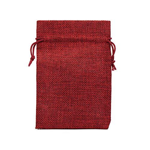 50 unids / lote bolsa de arpillera natural con cordón bolsas de regalo de yute embalaje de joyería de varios tamaños bolsas de boda con bolsa de dulces -Vino tinto-6_Los 8x10cm