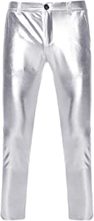 pipigo Mens Slim Stripe High Waist Drawstring Casual Pants Trousers Black M