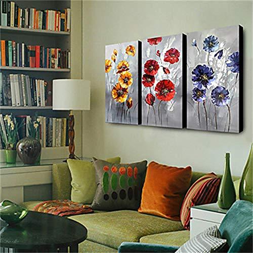 ÖLgemäLde Moderne GroßE Handgemalte, GemäLde AufLeinwand Blume Handgemachte AcrylgemäLde Zum Wohnzimmer Schlafzimmer In 40×80CmX3PCS