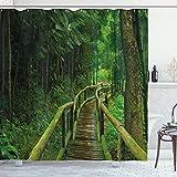 ABAKUHAUS Dschungel Duschvorhang, Regenwald in Thailand, Leicht zu pflegener Stoff mit 12 Haken Wasserdicht Farbfest Bakterie Resistent, 175 x 180 cm, Grün Braun