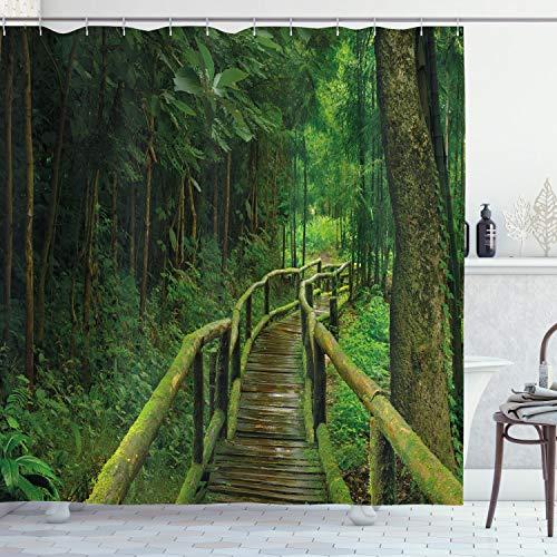 ABAKUHAUS Dschungel Duschvorhang, Regenwald in Thailand, Leicht zu pflegener Stoff mit 12 Haken Wasserdicht Farbfest Bakterie Resistent, 175 x 240 cm, Grün Braun