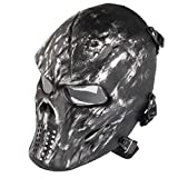 Airsoft Maske mit Schutzbrille Halloween Skull Schutzmaske Taktische Full Face fur Paintball Softair...