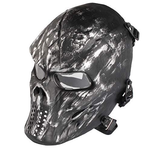 Airsoft Maske mit Schutzbrille Halloween Skull Schutzmaske Taktische Full Face fur Paintball Softair CS Partyspiel Silbergrau & Klar Linsen