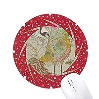 鳥の翼の浮世絵は日本の花 円形滑りゴムの赤のホイールパッド