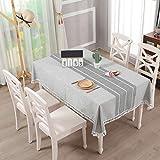 Vailge Tischdecke Rechteckige Tischtuch Leinendecke Leinen Tischdecke Abwaschbar, Tischdecken Wasserabweisend mit Quaste Edge Tischwäsche für Home Küche Dekoration (Grau, 140 x 180 cm) - 7