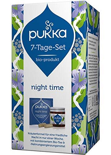Pukka 7-Tage-Set (Starter-Set) Bio-Tee und Bio-Nahrungsergänzungsmittel Night Time (7 Teebeutel und 14 Kapseln) 15 g, 4er Pack (4 x 60 g)