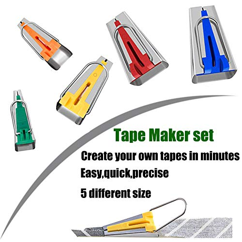 HONEYSEW Bias Tape Maker Set 6MM/9MM/12MM/18MM/25MM 5 Sizes DIY Quilting Tools Kit