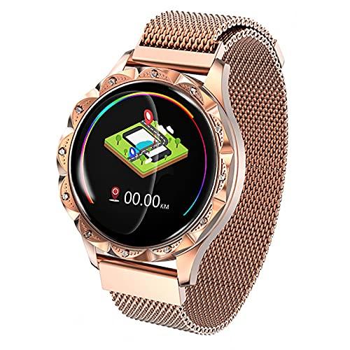 FVIWSJ Smartwatch, 1.4' Táctil Completa Reloj Inteligente Impermeable IP67 para Hombre Mujer,Pulsera Actividad Inteligente,GPS Podómetro Modos Deporte Compatible con iOS y Android,Oro