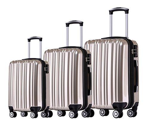 Münicase TSA-Schloß Koffer Reisekoffer Trolley Kofferset (Champagner, 3tlg. Kofferset)