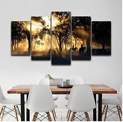LYHZXC Cuadro En Lienzo Imagen Decoración Familiar Sala De Estar 5 Piezas Amanecer Amanecer Bosque Y Árbol Caballo Pintura HD Imprimir Póster-40X60Cmx2_40X80Cmx2_40X100Cmx1