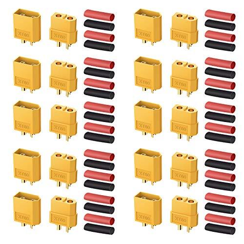 AUTOUTLET 10 Pares XT60 Conectores de Bala Macho Hembra XT-60 Enchufes de Alimentación con Termorretráctil para Batería RC Lipo
