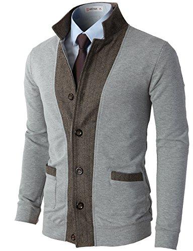 H2H Mens Two-Tone Herringbone Jacket Cardigans LightGray US L/Asia XL (JLSK03)