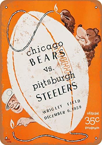 None Brand Chicago Bears vs. Pittsburgh Steelers Blechschild Retro Blech Metall Schilder Poster Deko Vintage Türschilder Schild Warnung Hof Garten Cafe Toilette Kneipe Club Geschenk