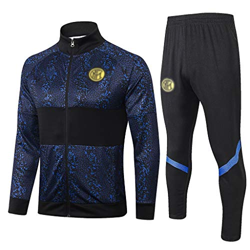 Big25cm Fußball-Verein Liga!Fußball-Sport-Jacke Lässige Football Sportanzug Männer Fußballtrainingsanzug Uniform Set -ball080 (Color : Blue, Size : L)