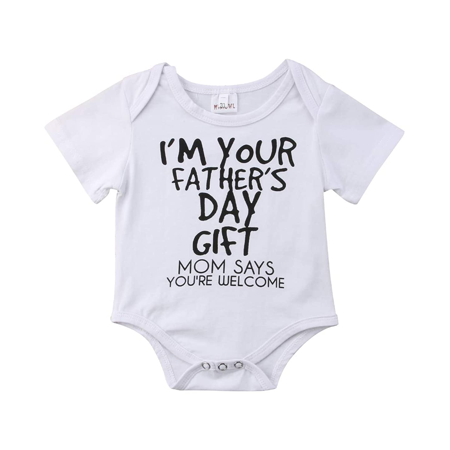 Newborn Infant Baby Girl Boy Father's Day Bodysuit Romper Tops Short Sleeve Summer Outfit mamimylvceg3