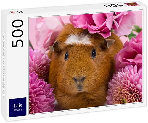 Lais Puzzle Meerschweinchen in rosa Blumen 500 Teile