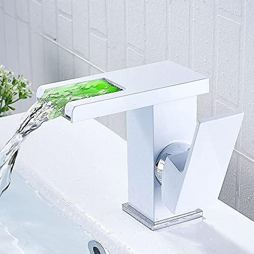 Grifo de Lavabo LED Cascada con Iluminación Grifo Baño Corto Monomando Griferia Mezclador Agua Fría y Agua Caliente para Ducha (blanco)