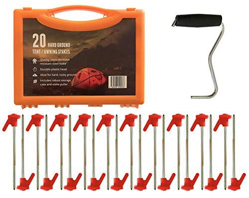 Primal Force - Estacas para tienda de campaña, resistentes al óxido, 20 unidades de estacas de acero para anclaje de alta resistencia, equipo de camping