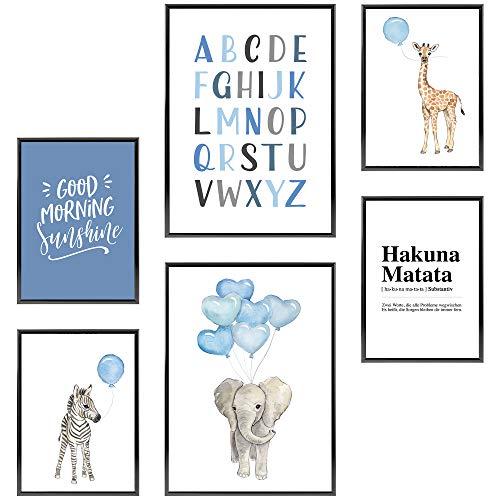 Frechdax® Kinder Poster Set | Wandbilder als Kinderzimmer Deko | 2 x DIN A3 & 4 x DIN A4 - ca. 30x42 & 21x30 | ohne Bilderrahmen (» Elefant, Giraffe, Blau, Luftballons «)