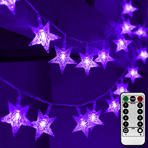 Abkshine 25ft 50 LED Battery Powered Star Fairy Lights, Waterproof Purple LED Christmas Fairy String Lights for Halloween, Christmas, Wedding, Party, Bedroom, Purple