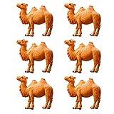 6 piezas mini camello figura modelo miniatura animal juguete PVC escritorio adorno para jardín escritorio gabinete decoración