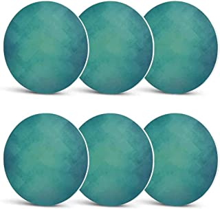 Teal Drink Coasters,Retro Inspired Grunge Style Abstract Pattern Vintage Design Calming Color Scheme for Men Women & Holiday PartySet of 6