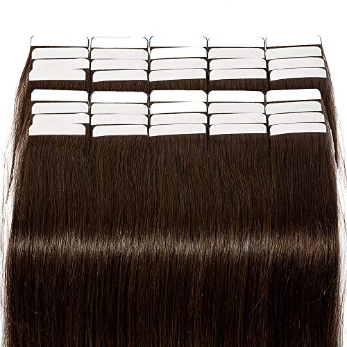 100% Remy Echthaar Tape in Extensions Echthaar 50cm Echthaar Extensions Tape In Haarverlängerung 40 Tressen 100g #2 Dunkelbraun