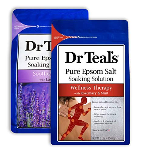 Dr Teal's Epsom Salt Bath Combo Pack (6 lbs Total), Soothe & Sleep with Lavender, and Wellness Therapy with Rosemary and Mint