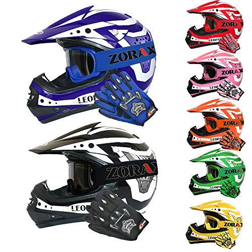 Leopard LEO-X17 *ECE 2205 Genehmigt* Kinder Motocross MX Helm Motorradhelm Crosshelm Kinderquad Off Road Enduro Sport + Handschuhe + Zorax Brille - Grün XL (55cm)