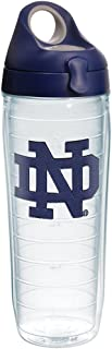 Tervis 1275170 Notre Dame Fighting Irish Interlocking Tumbler with Emblem and Navy with Gray Lid 24oz Water Bottle, Clear