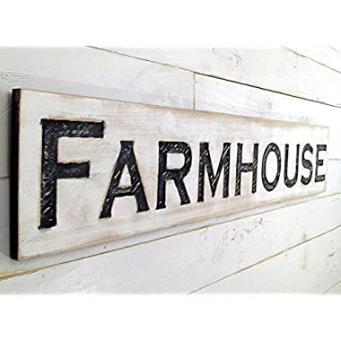 "Large Farmhouse Sign 48""x10"" Carved Horizontal-Cypress Lumber Rustic Wood Distressed Shabby Style Decor"