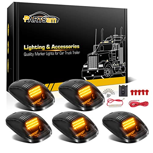 Partsam 5X Amber 24 LED Smoke Cab Roof Running Top Marker Lights 264146BK Assembly Wire Harness Replacement for Dodge Ram 1500 2500 3500 4500 5500 2003-2018 Pickup Trucks