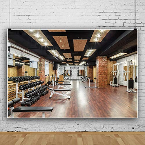 Yeele 7x5ft Gym Interior Backdrop Fitness Equipment Indoor Fitness Room Photography Background Modern City Office Interior Sport Club Home House Design Interior Photoshoot Studio Props