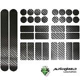 Finest-Folia Carbon Schwarz Fahrrad Aufkleber Rahmen Schutz Folie MTB BMX Ketten Streben K098 2X...