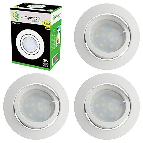 Lot de 4 Spot Led Encastrable Complete Blanc Orientable lumière Blanc Chaud eq. 50W ref.193