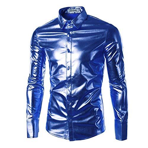 HaiDean Heren Fashion Bling Shiny Modern Slim Lange Mouw Casual T Shirts Button Down Shirt Disco Dans Tops Clubwear Cosplay Blouse Shirt Tops