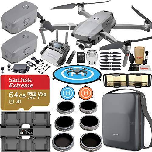 DJI Mavic 2 Zoom Combo Bundle with 2 Batteries, 4 Channel Charging Hub, Carrying Case, ND & Adjustable Polarizer Filter Set, Micro SD Card, Landing Pad and Signal Booster