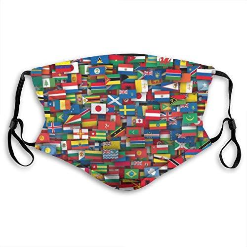 Vlaggen Van Alle Landen Van De Wereld Masker Luchtgezicht Mond Masker Vervangbaar Filter Masker Mond Maskers Half Masker Vulling Gezicht Zwart