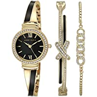 Anne Klein Women's Swarovski Crystal Accented Bangle Watch & Bracelet Set