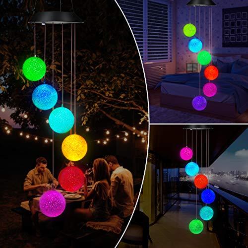 Solar LED Windspiele, Kohree Farbwechsel Solar Wind Chime Light für Draußen Indoor, Kristallkugel Mobile Solarbetriebene Solarleuchte Solarlichter Dekor für Garten Yard Home, Geschenke für Weihnachten