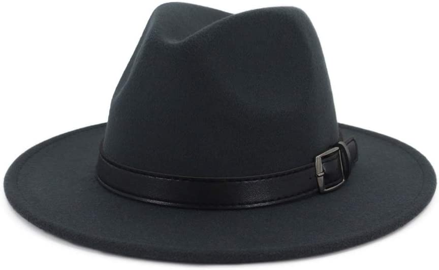 Women Men Wool Fedora Hat with Discount mail order Pop Punk Casual Belt 70% OFF Outlet Outdoor