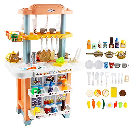 deAO My Happy Little Chef Kitchen Pretend Play Set with Lights, Sounds, Cold Steam, Real Water Features and Over 40 Accessories Included – Great Gift for Kids