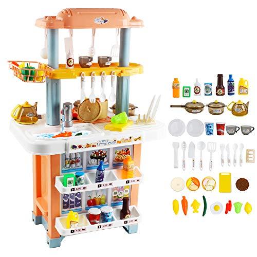 deAO Cocina de Juguete Mi Pequeño Chef Cocinita 2en1 con Doble Diseño, Grifo de Agua, Características de Luz y Sonidos, Conjunto Infantil de Imitación con 40 Accesorios Incluidos