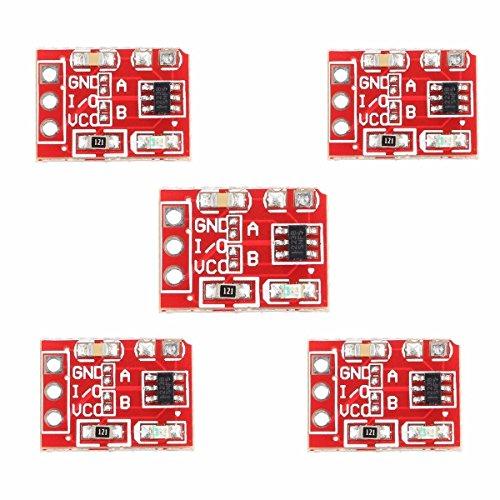 ARCELI 5PCS 2.5-5.5V TTP223 Interruptor de botón táctil Capacitivo Interruptor de Bloqueo automático para Arduino