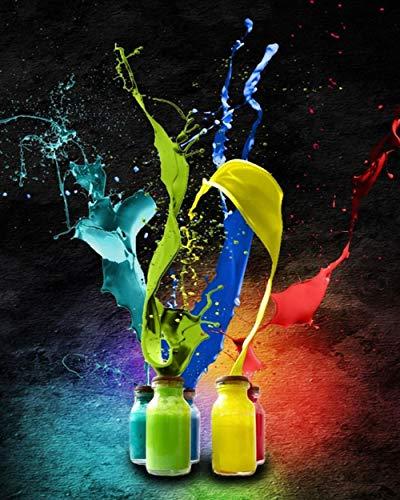 Schilderen op nummer Kits voor volwassenen Kinderen, schilderen op nummer, artistieke spatten van kleurenverf, 40X50Cm, KPL-5466