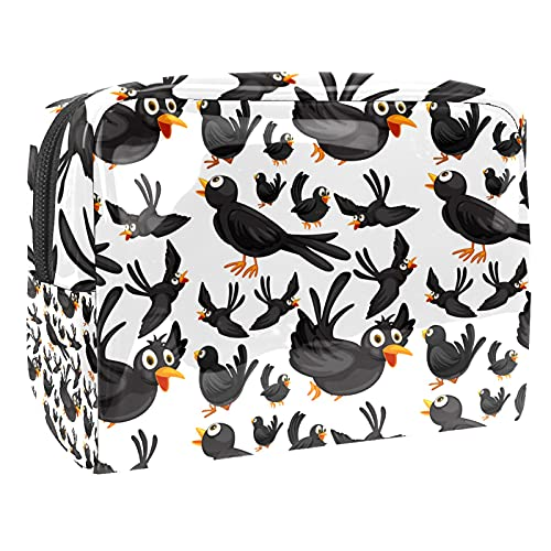 Bolsa cosmética de notas musicales en blanco y negro, bolsa de maquillaje de viaje bolsas de maquillaje 18.5x7.5x13cm/7.3x3x5.1in bolsa de maquillaje de PVC/bolsa de cosméticos de viaje